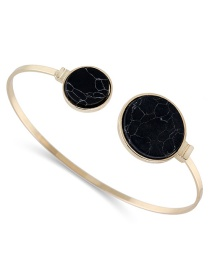 Fashion Black Double Round Shape Decorated Opening Bracelet