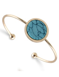 Fashion Blue Round Shape Decorated Opening Bracelet