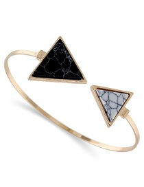 Fashion Black+white Biger Triangle Shape Decorated Opening Bracelet