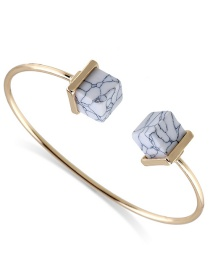 Fashion White Square Shape Decorated Opening Bracelet