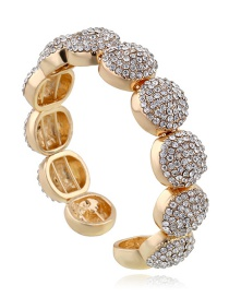 Elegant Gold Color Round Shape Diamond Decorated Opening Bracelet