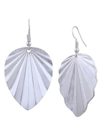 Fashion Silver Color Metal Leaf Shape Decorated Earrings