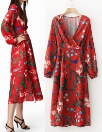 Fashion Red Flower Pattern Decorated Long Dress