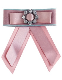 Trendy Pink Flower Decorated Double Layer Bowknot Brooch