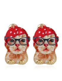 Fashion Yellow Cat Shape Decorated Earrings