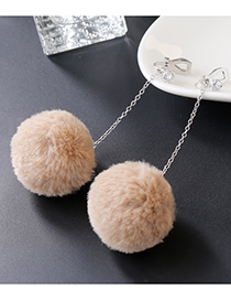 Lovely Khaki Fuzzy Ball Decorated Pom Ear Clip