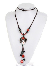 Vintage Red+green Flower Shape Decorated Doule-layer Necklace