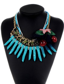 Exaggerated Blue Bowknot Shape Decorated Multilayer Necklace