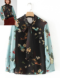Vintage Black+blue Bowknot Shape Decorated Blouse