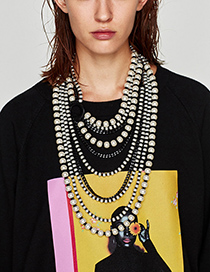 Fashion Black+white Pearls Decorated Multi-layer Necklace