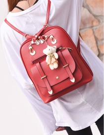 Fashion Red Bear Decorated Backpack