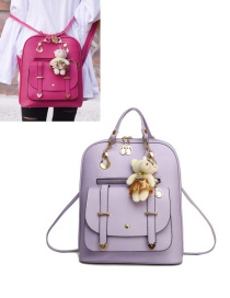 Fashion Purple Bear Decorated Backpack
