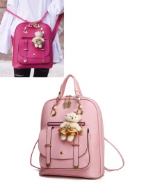 Fashion Pink Bear Decorated Backpack