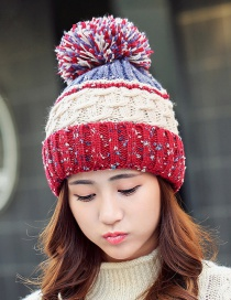 Fashion Red Fuzzy Ball Decorated Hat