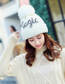 Fashion White Letter Pattern Decorated Hat