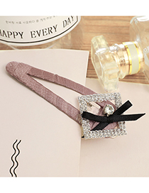 Lovely Purple Square Shape Diamond Decorated Hairpin
