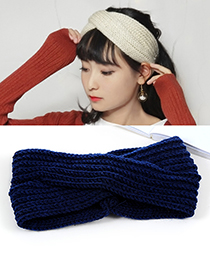 Fashion Navy Pure Color Decorated Headband