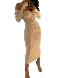 Fashion Beige Pure Color Decorated V Neckline Dress