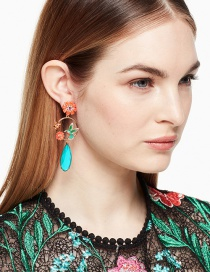 Fashion Multi-color Bird&flower Shape Decorated Earrings