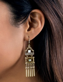 Fashion Antique Gold Geometry Shape Decorated Earrings