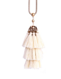 Fashion White Tassel Decorated Necklace