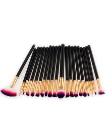 Fashion Red+purple+black Sector Shape Decorated Makeup Brush ( 20 Pcs)
