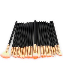 Fashion Pink+yellow+black Sector Shape Decorated Makeup Brush ( 20 Pcs)