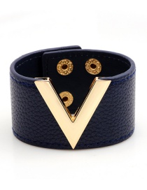 Fashion Blue Letter V Shape Decorated Bracelet