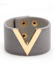 Fashion Gray Letter V Shape Decorated Bracelet