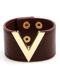Fashion Brown Letter V Shape Decorated Bracelet