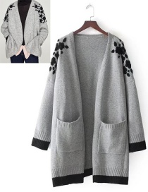 Fashion Gray Flower Pattern Decorated Coat
