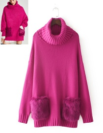 Fashion Plum Red Pure Color Decorated Sweater