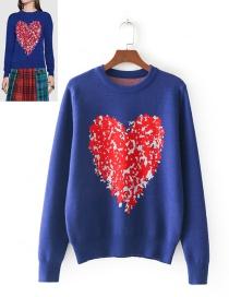 Fashion Blue Heart Pattern Decorated Sweater