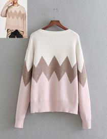 Fashion Beige Weave Pattern Decorated Sweater