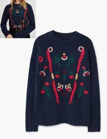 Fashion Dark Blue Flower Pattern Decorated Sweater