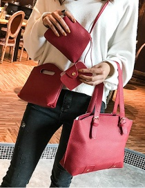 Fashion Red Rivet Decorated Handbag ( 4 Pcs )