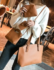 Fashion Light Brown Rivet Decorated Handbag ( 4 Pcs )