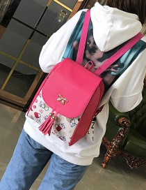 Fashion Plum Red Bowknot Decorated Backpack