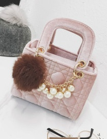 Fashion Pink Pom Ball&pearl Decorated Shoulder Bag