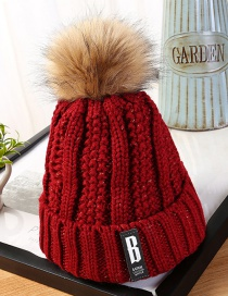 Fashion Claret Red Letter Patch Decorated Hat