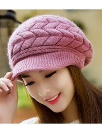 Fashion Purple Pure Color Decorated Hat