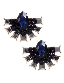 Fashion Sapphire Blue Water Drop Shape Decoratd Earrings