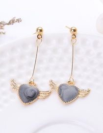 Fashion Black Heart&wing Shape Decorated Earrings
