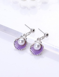 Fashion Light Purple Shell Shape Decorated Earrings