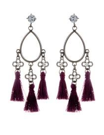 Fashion Purple Tassel Decorated Earrings