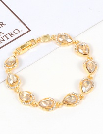 Fashion Champagne Water Drop Shape Diamond Decorated Bracelet