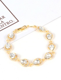 Fashion White Water Drop Shape Diamond Decorated Bracelet