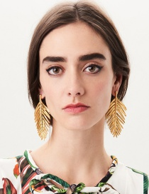 Fashion Gold Color Leaf Shape Design Pure Color Earrings