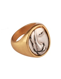 Exaggerated Gold Color Face Shape Pattern Decorated Simple Ring