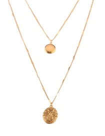 Fashion Gold Color Round Shape Decorated Double Layer Necklace